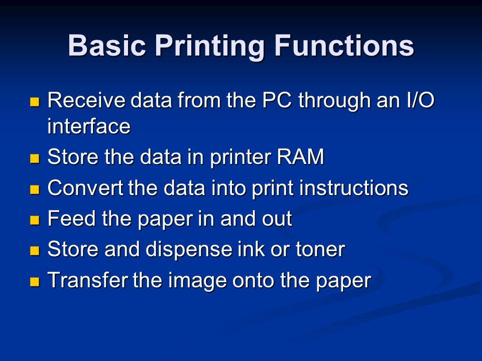 Types of Printer Technology Daisywheel (obsolete) Daisywheel (obsolete) Dot Matrix Dot Matrix Inkjet Inkjet Laser Laser LED LED Dye Sublimation Dye Sublimation Solid Ink Solid Ink