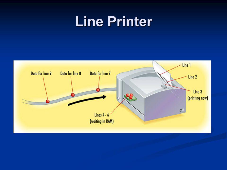Dot Matrix Improved on daisywheel by making multiple fonts possible Improved on daisywheel by making multiple fonts possible Letters formed by metal pins Letters formed by metal pins Inked ribbon Inked ribbon Tractor-fed Tractor-fed Impact Impact Single-color Single-color Line printer Line printer