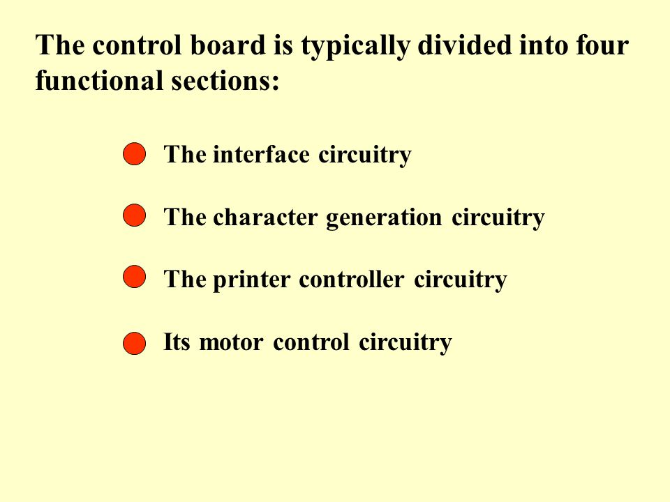 The control board is typically divided into four functional sections: The interface circuitry The character generation circuitry The printer controlle