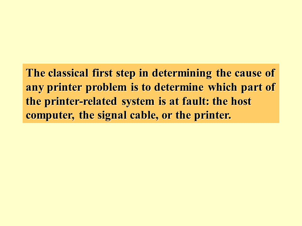 The classical first step in determining the cause of any printer problem is to determine which part of the printer-related system is at fault: the hos