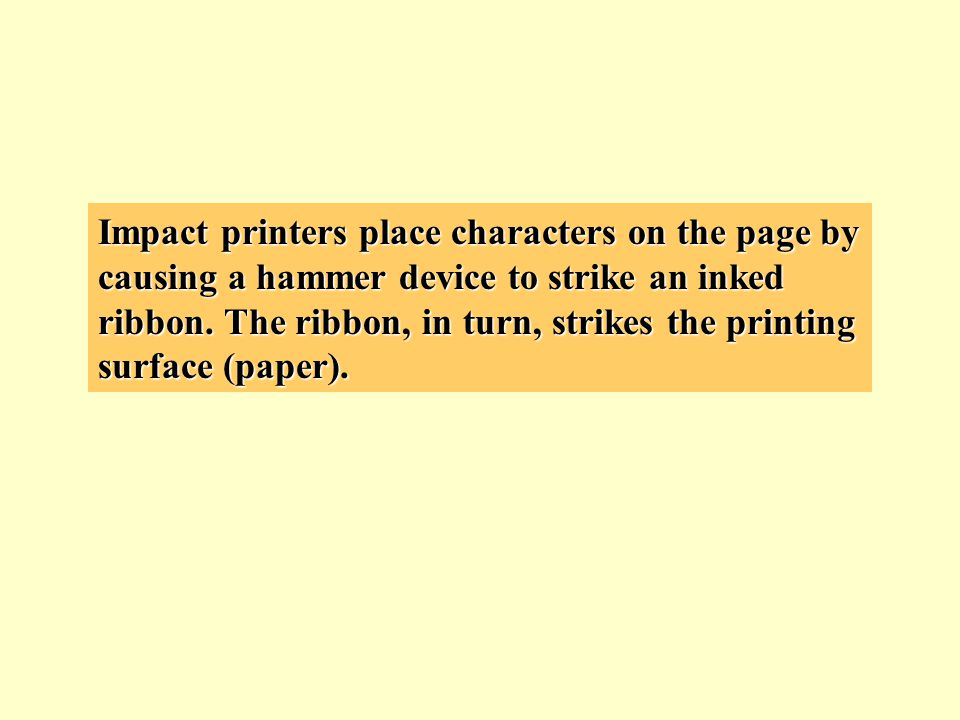These are symptoms of ink-jet printer problems: No lights or noise from printer Light or uneven print produced Printhead moving but not printing, or printing erratically Lines on the page Printhead printing, but does not move Paper will not advance