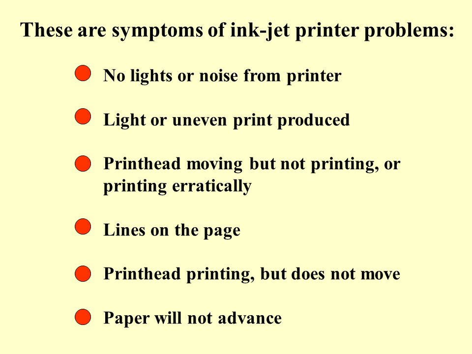 These are symptoms of ink-jet printer problems: No lights or noise from printer Light or uneven print produced Printhead moving but not printing, or p