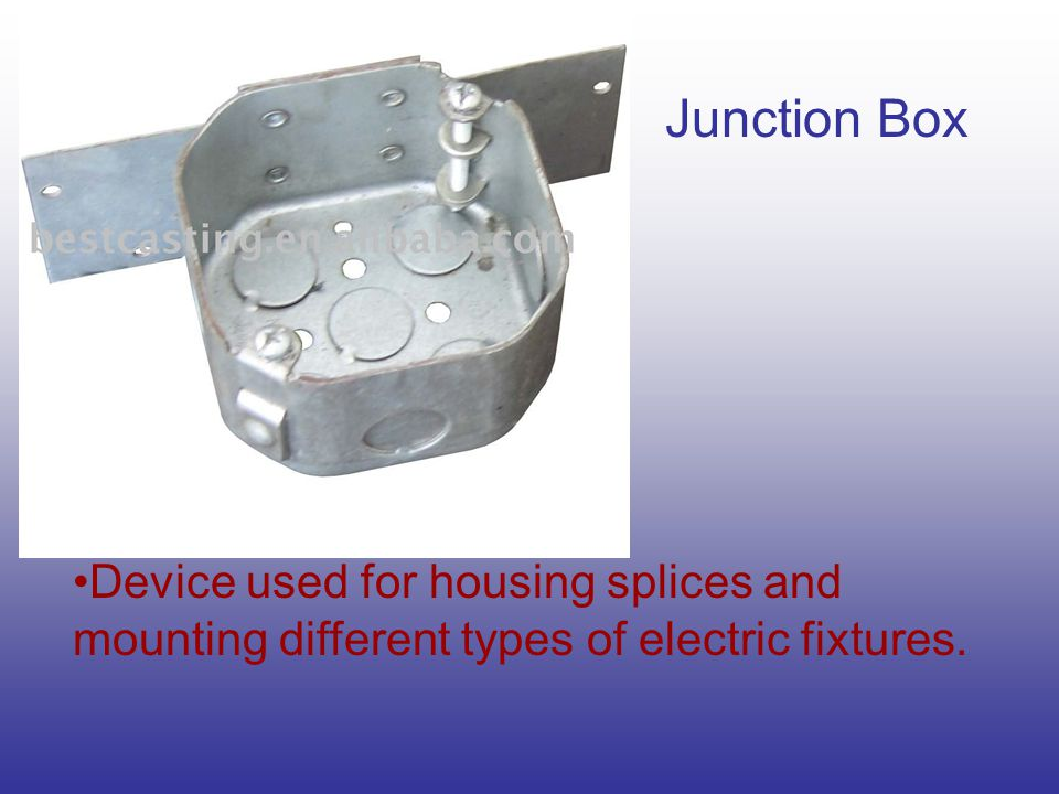 Junction Box Device used for housing splices and mounting different types of electric fixtures.