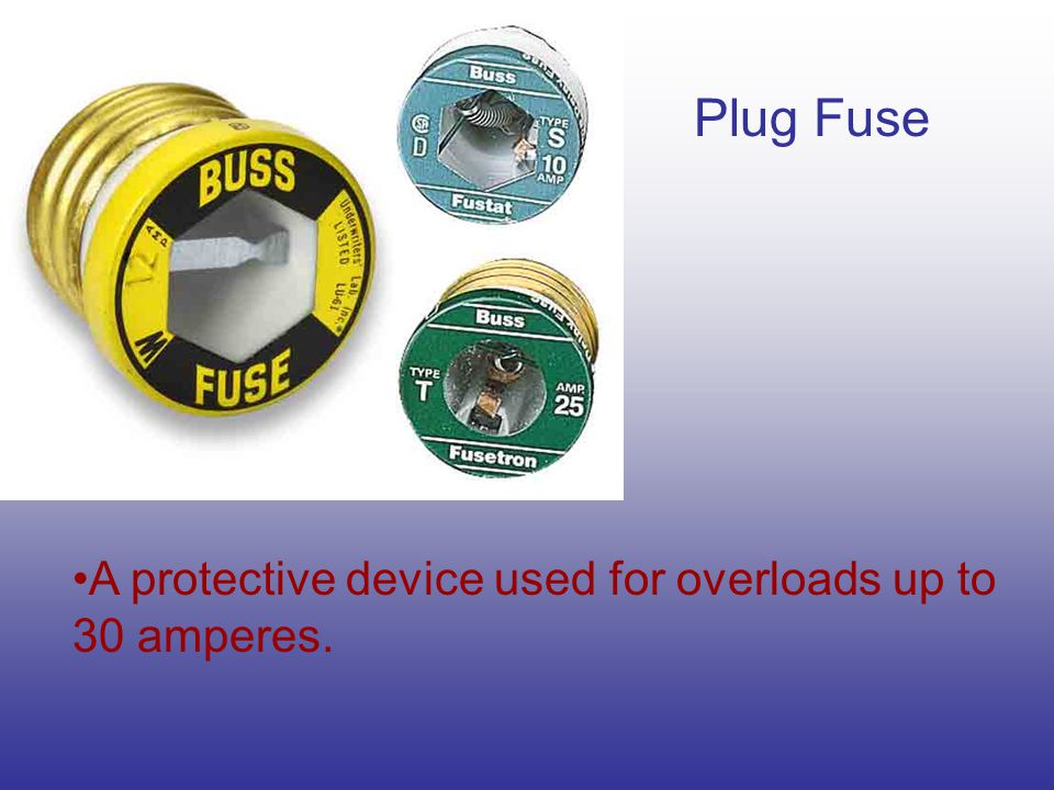 Plug Fuse A protective device used for overloads up to 30 amperes.