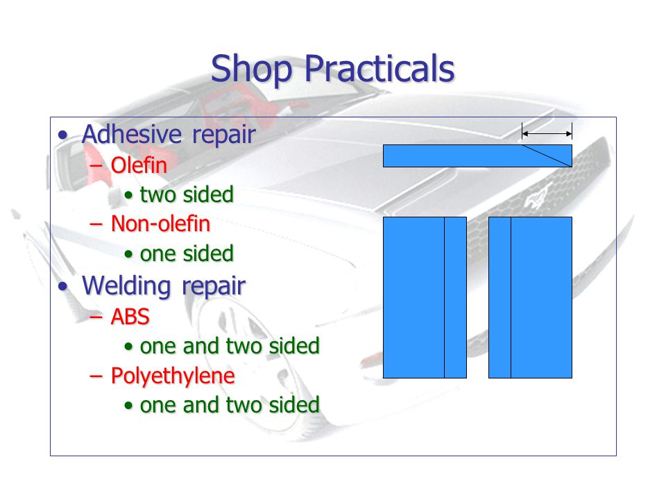 Shop Practicals Adhesive repairAdhesive repair –Olefin two sidedtwo sided –Non-olefin one sidedone sided Welding repairWelding repair –ABS one and two sidedone and two sided –Polyethylene one and two sidedone and two sided