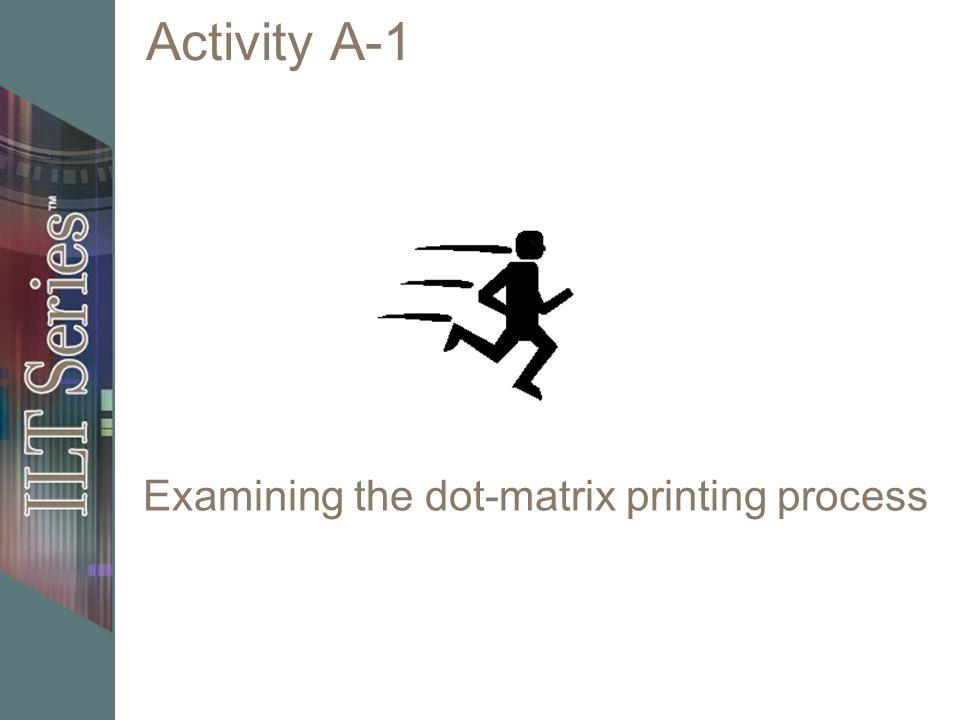Activity A-1 Examining the dot-matrix printing process