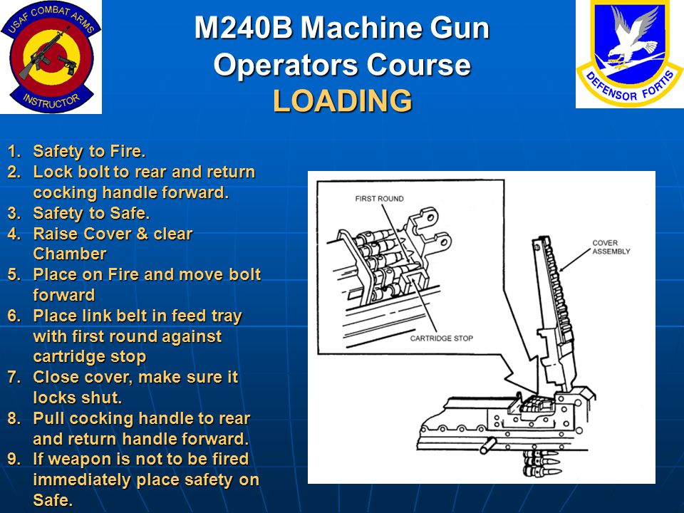 M240B Machine Gun Operators Course LOADING 1.Safety to Fire. 2.Lock bolt to rear and return cocking handle forward. 3.Safety to Safe. 4.Raise Cover &