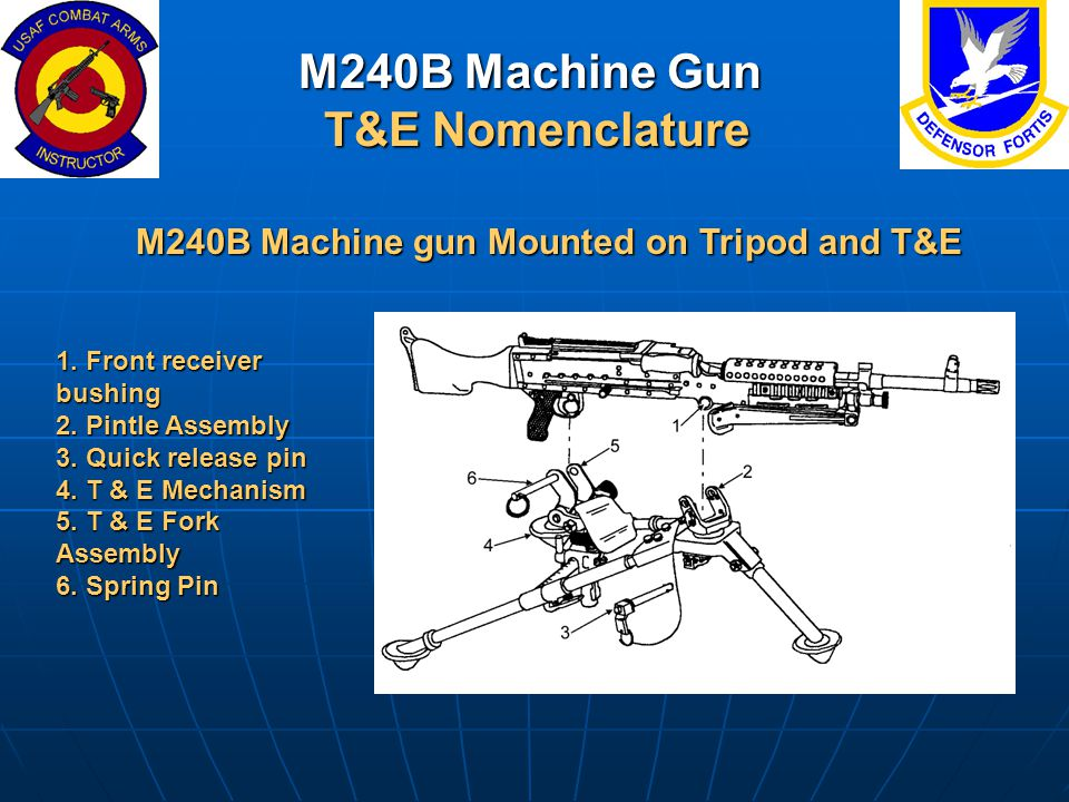 M240B Machine Gun T&E Nomenclature M240B Machine gun Mounted on Tripod and T&E 1. Front receiver bushing 2. Pintle Assembly 3. Quick release pin 4. T