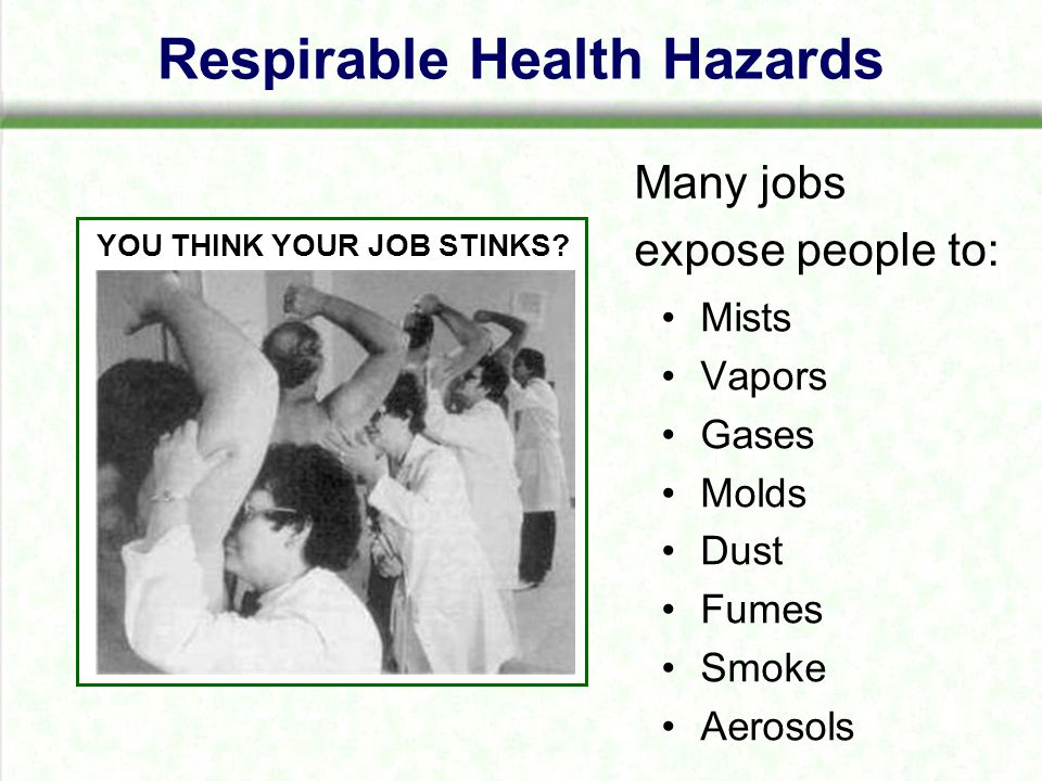 Respirable Health Hazards Mists Vapors Gases Molds Dust Fumes Smoke Aerosols Many jobs expose people to: YOU THINK YOUR JOB STINKS