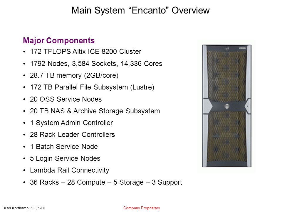 Company Proprietary Karl Kortkamp, SE, SGI Main System Encanto Overview Major Components 172 TFLOPS Altix ICE 8200 Cluster 1792 Nodes, 3,584 Sockets, 14,336 Cores 28.7 TB memory (2GB/core) 172 TB Parallel File Subsystem (Lustre) 20 OSS Service Nodes 20 TB NAS & Archive Storage Subsystem 1 System Admin Controller 28 Rack Leader Controllers 1 Batch Service Node 5 Login Service Nodes Lambda Rail Connectivity 36 Racks – 28 Compute – 5 Storage – 3 Support