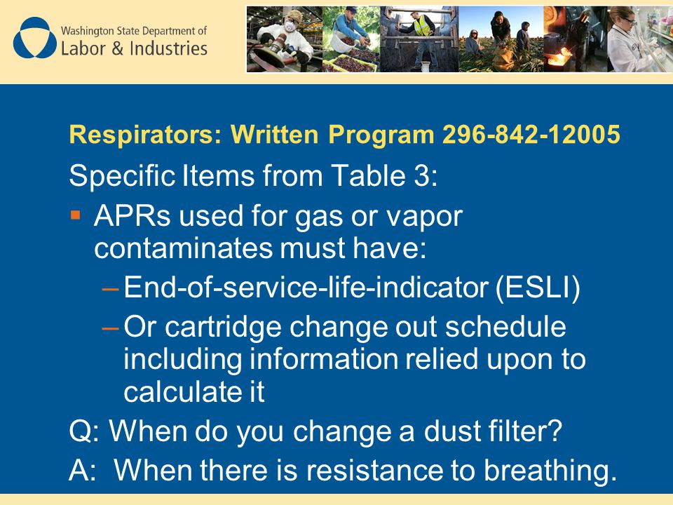 Respirators: Written Program 296-842-12005 Specific Items from Table 3: APRs used for gas or vapor contaminates must have: –End-of-service-life-indica