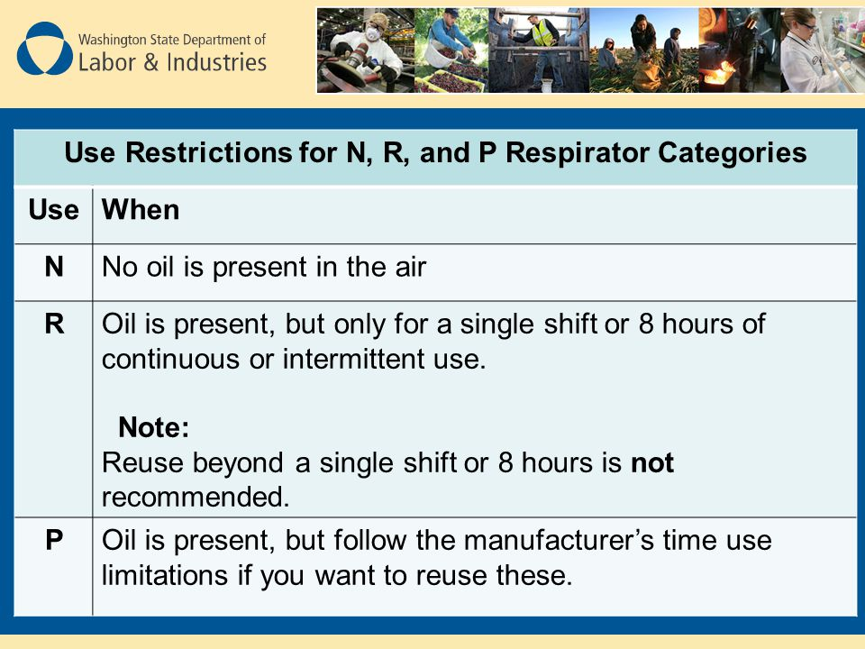 Use Restrictions for N, R, and P Respirator Categories UseWhen NNo oil is present in the air ROil is present, but only for a single shift or 8 hours of continuous or intermittent use.
