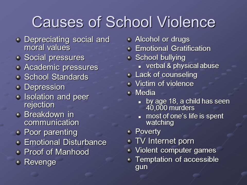 Causes of School Violence Depreciating social and moral values Social pressures Academic pressures School Standards Depression Isolation and peer reje