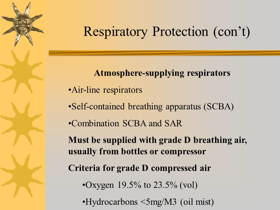 Respiratory Protection (cont) Atmosphere-supplying respirators Air-line respirators Self-contained breathing apparatus (SCBA) Combination SCBA and SAR