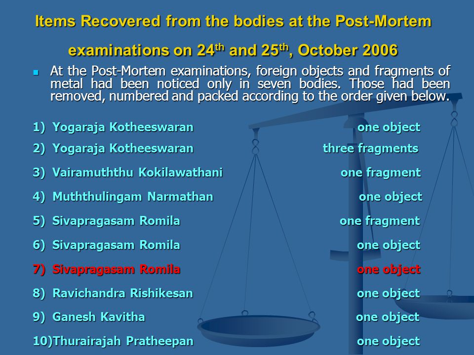 Items Recovered from the bodies at the Post-Mortem examinations on 24 th and 25 th, October 2006 At the Post-Mortem examinations, foreign objects and fragments of metal had been noticed only in seven bodies.