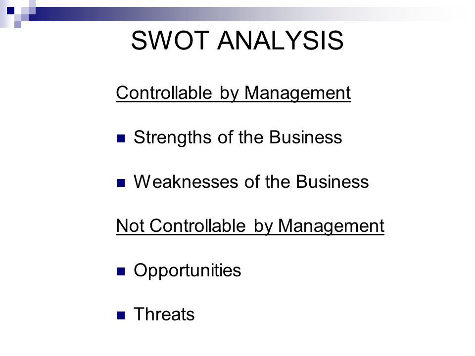 SWOT ANALYSIS Controllable by Management Strengths of the Business Weaknesses of the Business Not Controllable by Management Opportunities Threats