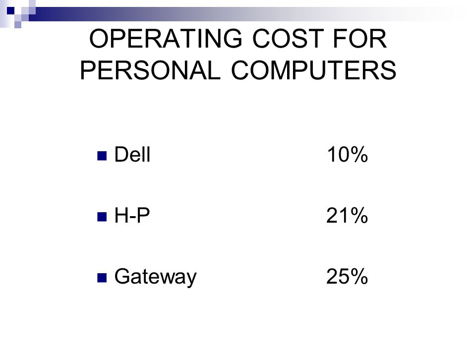 OPERATING COST FOR PERSONAL COMPUTERS Dell 10% H-P 21% Gateway 25%