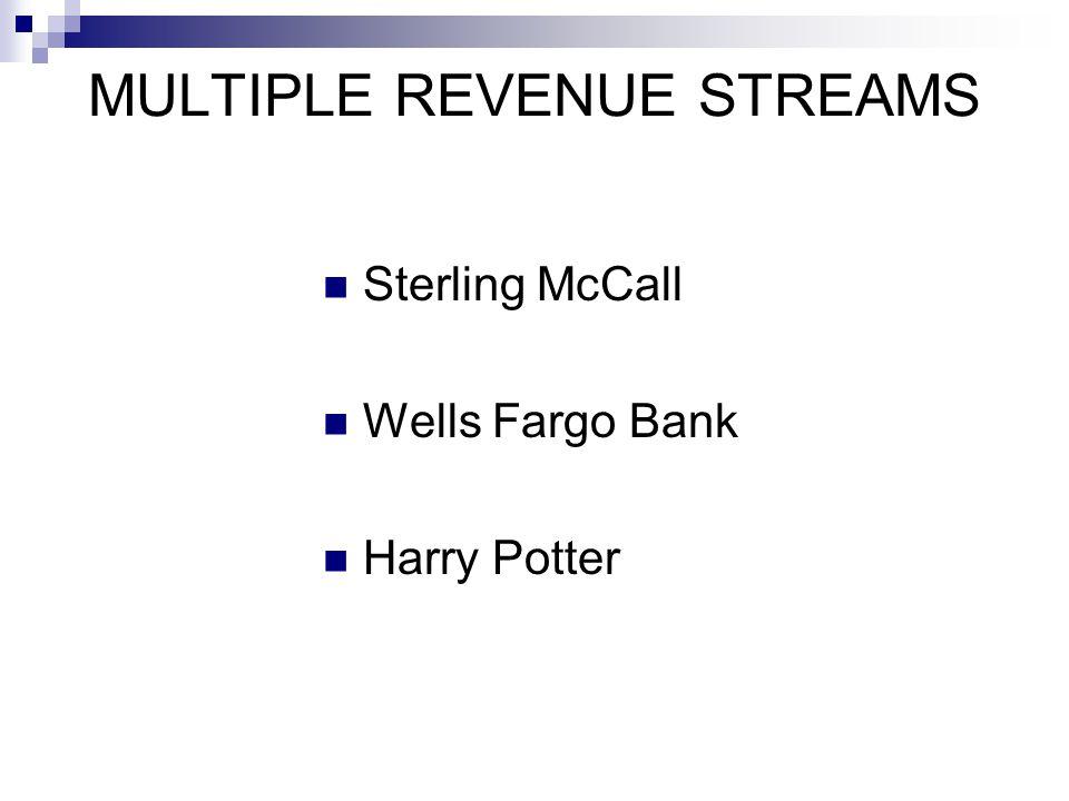 MULTIPLE REVENUE STREAMS Sterling McCall Wells Fargo Bank Harry Potter
