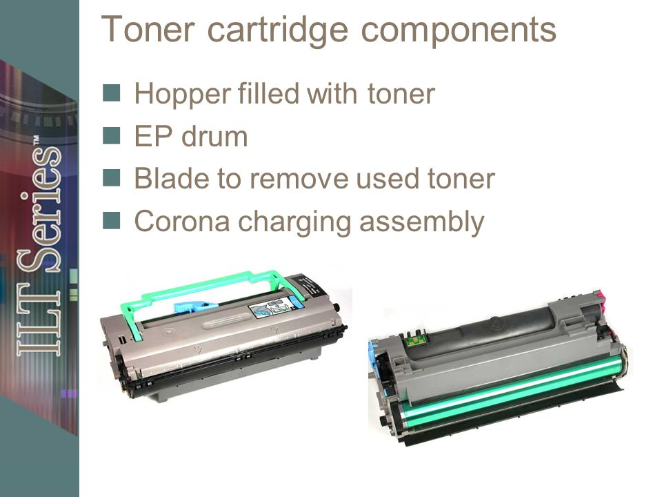 Toner cartridge components Hopper filled with toner EP drum Blade to remove used toner Corona charging assembly