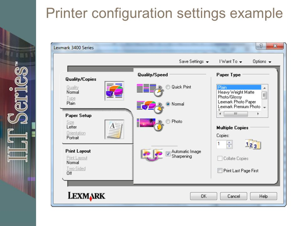 Printer configuration settings example