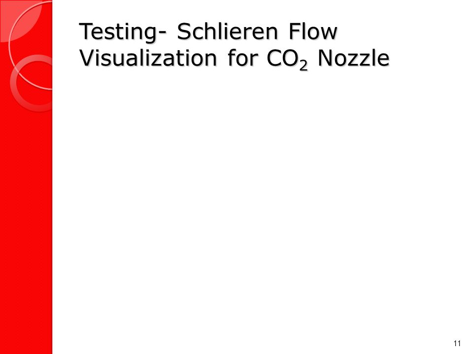 Testing- Schlieren Flow Visualization for CO 2 Nozzle 11