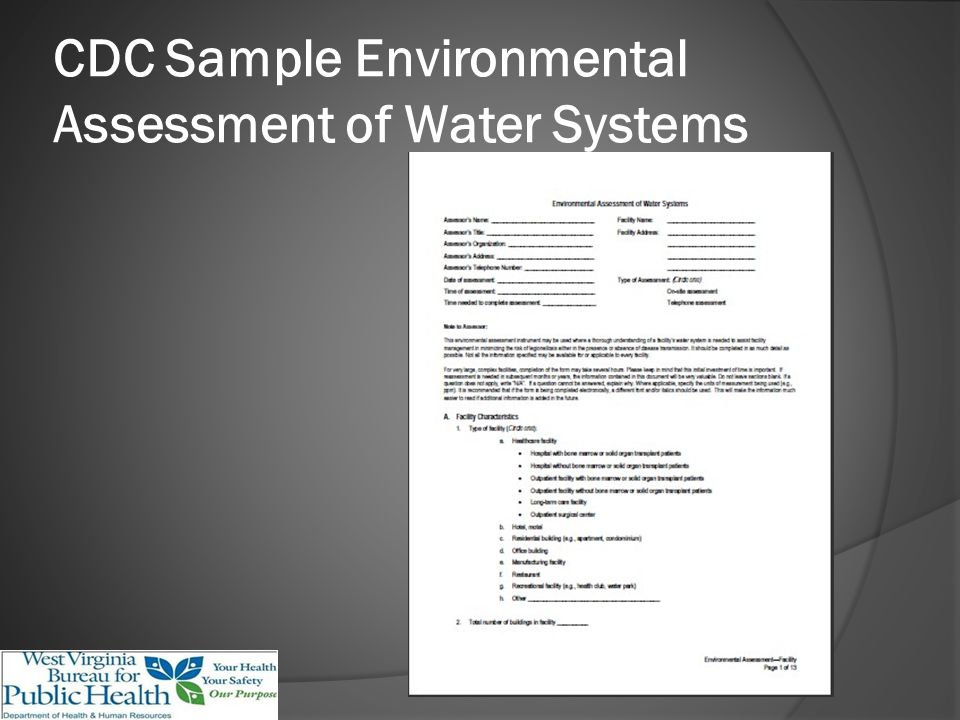 CDC Sample Environmental Assessment of Water Systems