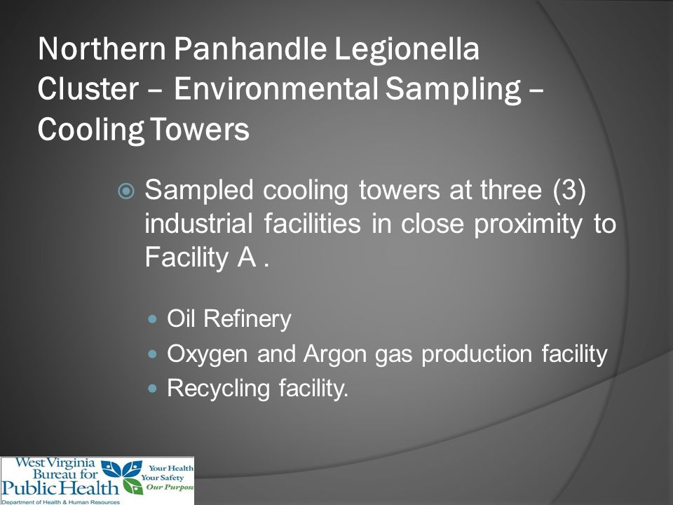 Northern Panhandle Legionella Cluster – Environmental Sampling – Cooling Towers Sampled cooling towers at three (3) industrial facilities in close proximity to Facility A.