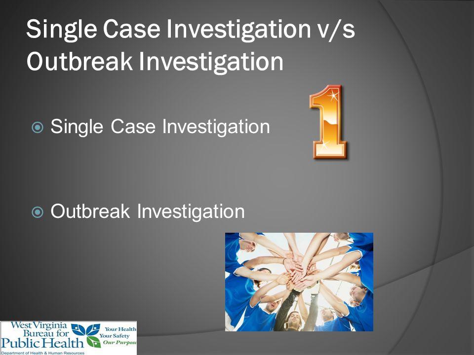 Single Case Investigation v/s Outbreak Investigation Single Case Investigation Outbreak Investigation