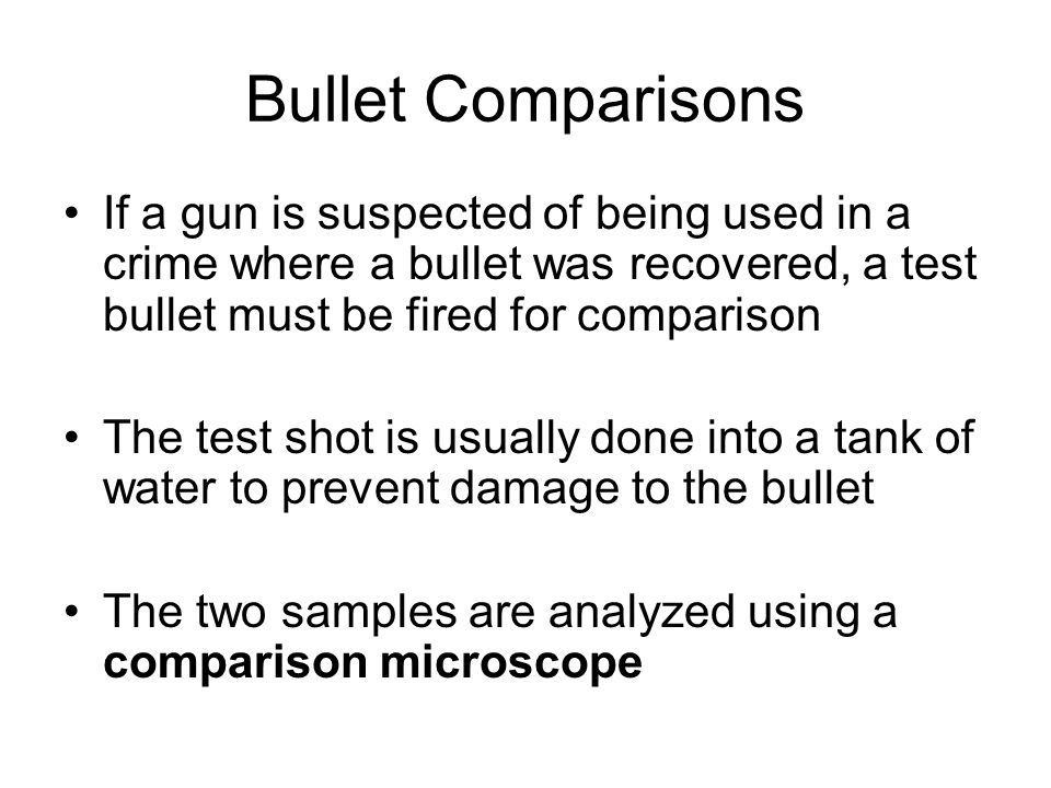 Gunpowder residues If the type of suspected gun is not known, then only approximations can be made The Greiss Test is used to identify the presence of nitrites on a sample.