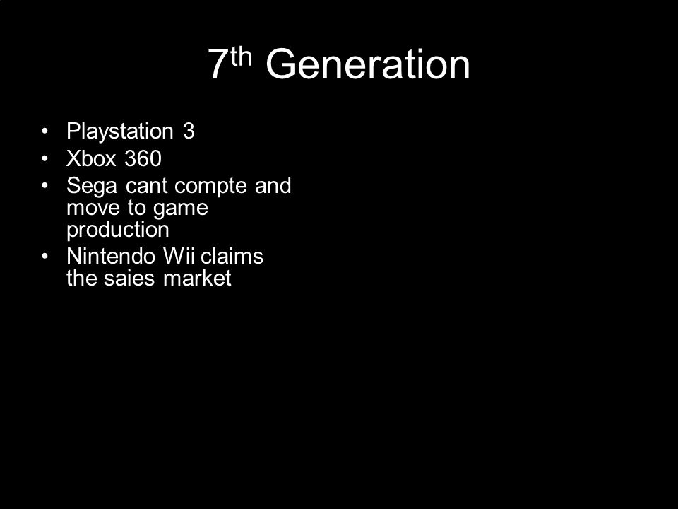 Bits Each new generation of console hardware made use of the rapid development of processing technology.