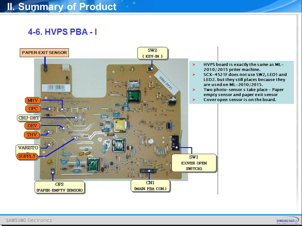 II. Summary of Product 4-6. HVPS PBA - I HVPS board is exactly the same as ML- 2010/2015 priter machine. SCX-4521F does not use SW2, LED1 and LED2. bu