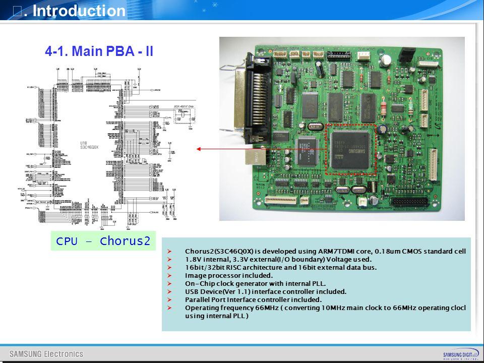 . Introduction CPU – Chorus2 4-1. Main PBA - II Chorus2(S3C46Q0X) is developed using ARM7TDMI core, 0.18um CMOS standard cell 1.8V internal, 3.3V exte