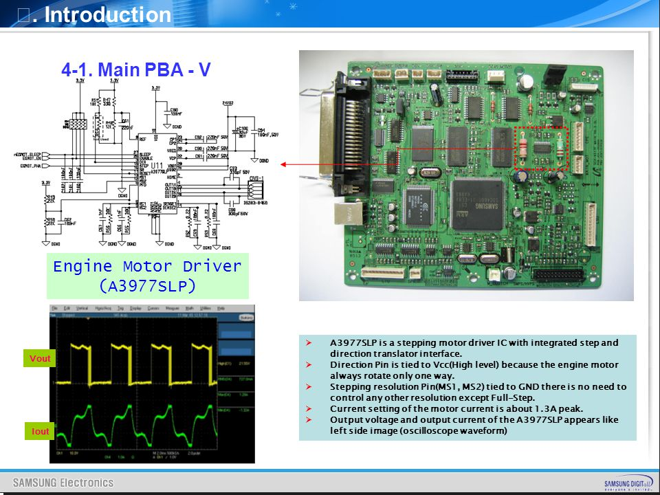 . Introduction 4-1. Main PBA - V A3977SLP is a stepping motor driver IC with integrated step and direction translator interface. Direction Pin is tied