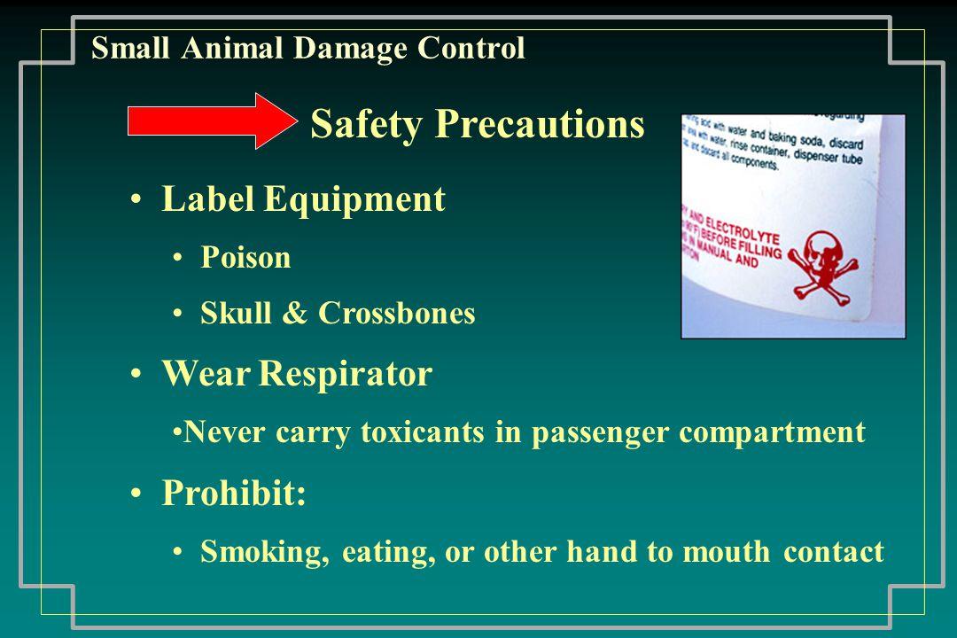 Small Animal Damage Control Summary More rodent & predator information: Dept.