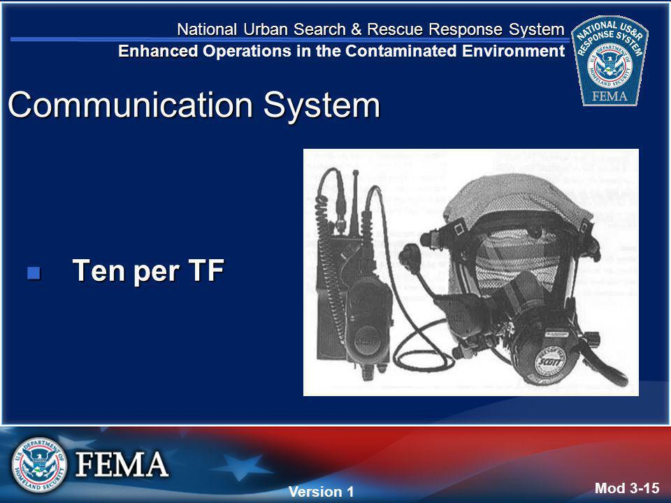 National Urban Search & Rescue Response System Enhanced National Urban Search & Rescue Response System Enhanced Operations in the Contaminated Environment Version 4 Version 1 Ten per TF Ten per TF Mod 3-15 Communication System