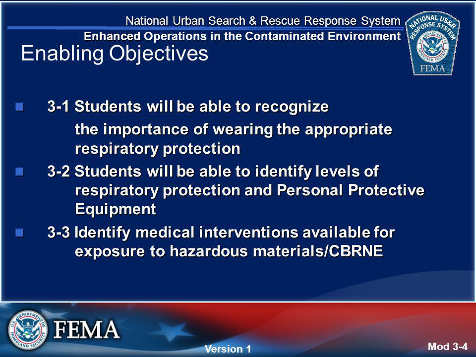 National Urban Search & Rescue Response System Enhanced National Urban Search & Rescue Response System Enhanced Operations in the Contaminated Environment Version 4 Version 1 3-1 Students will be able to recognize 3-1 Students will be able to recognize the importance of wearing the appropriate respiratory protection the importance of wearing the appropriate respiratory protection 3-2 Students will be able to identify levels of respiratory protection and Personal Protective Equipment 3-2 Students will be able to identify levels of respiratory protection and Personal Protective Equipment 3-3 Identify medical interventions available for exposure to hazardous materials/CBRNE 3-3 Identify medical interventions available for exposure to hazardous materials/CBRNE Mod 3-4 Enabling Objectives