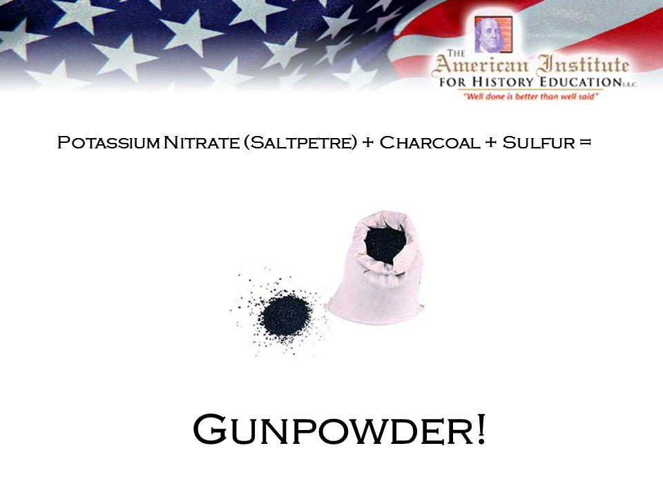 Gunpowder! Potassium Nitrate (Saltpetre) + Charcoal + Sulfur =