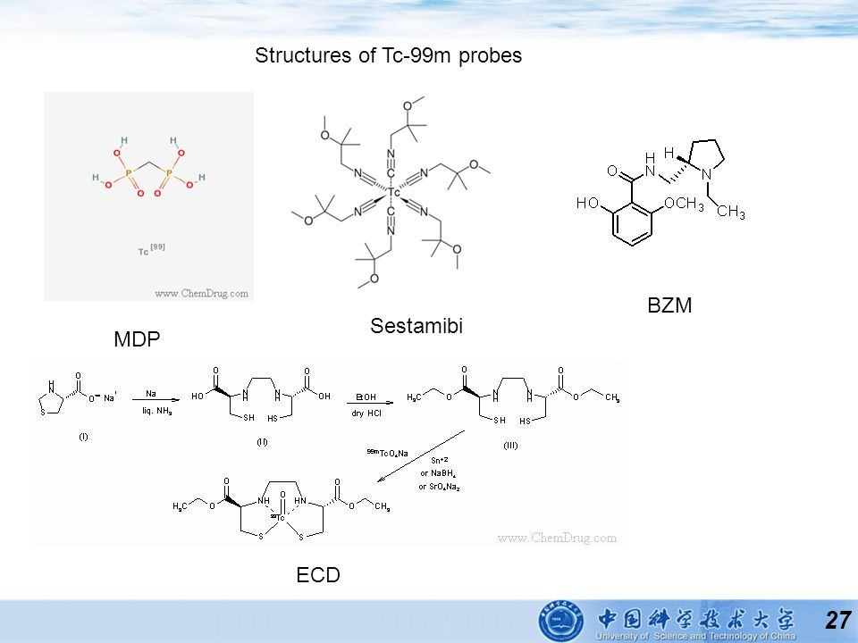 27 Structures of Tc-99m probes MDP Sestamibi ECD BZM