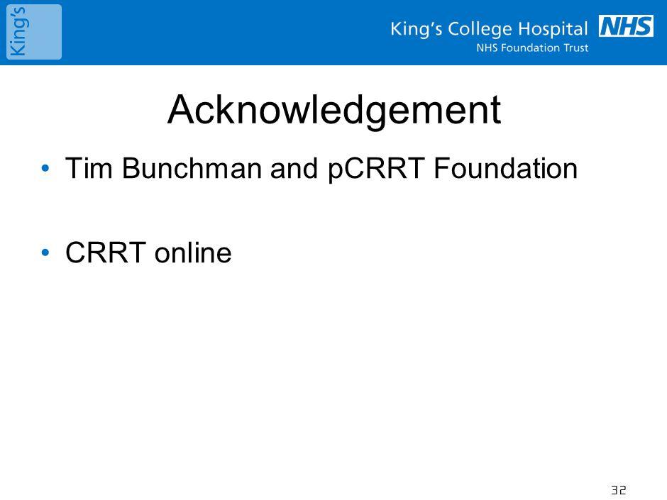 Acknowledgement Tim Bunchman and pCRRT Foundation CRRT online 32