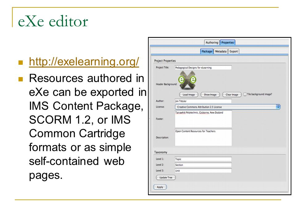 eXe editor http://exelearning.org/ Resources authored in eXe can be exported in IMS Content Package, SCORM 1.2, or IMS Common Cartridge formats or as simple self-contained web pages.