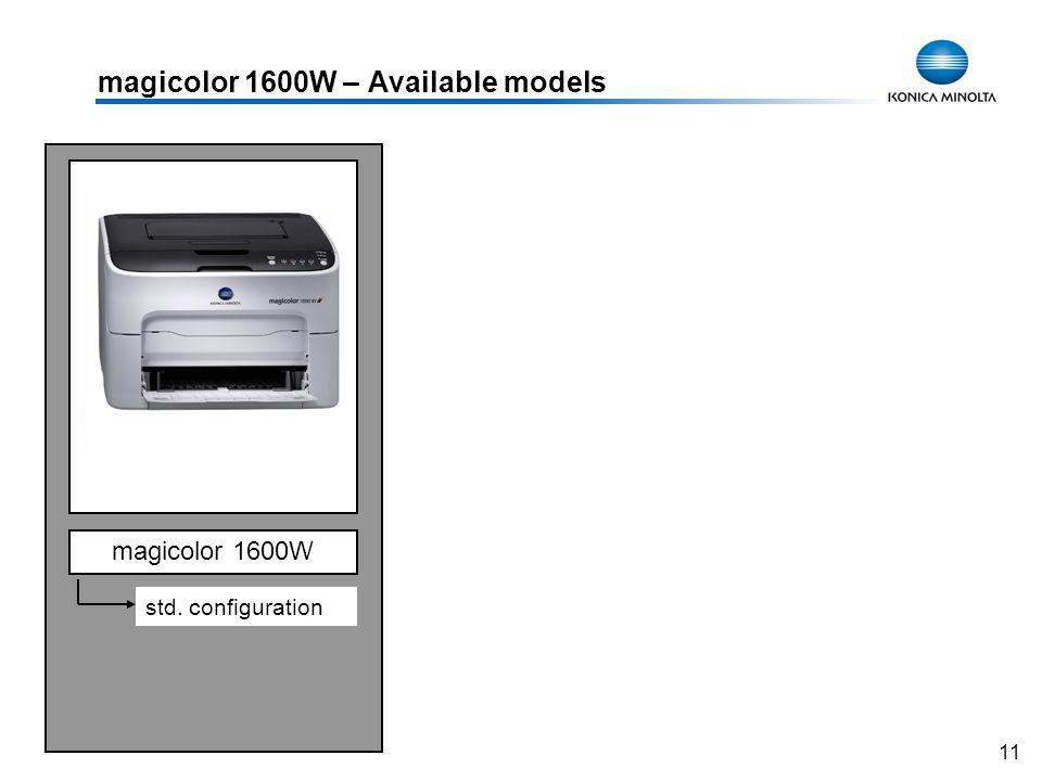 11 magicolor 1600W – Available models magicolor 1600W std. configuration