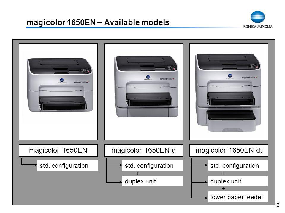12 magicolor 1650EN – Available models magicolor 1650ENmagicolor 1650EN-dmagicolor 1650EN-dt std. configuration duplex unit lower paper feeder + + std
