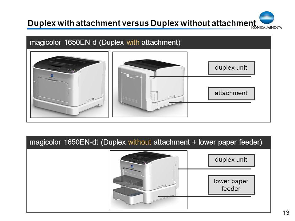 13 magicolor 1650EN-d (Duplex with attachment) magicolor 1650EN-dt (Duplex without attachment + lower paper feeder) Duplex with attachment versus Dupl