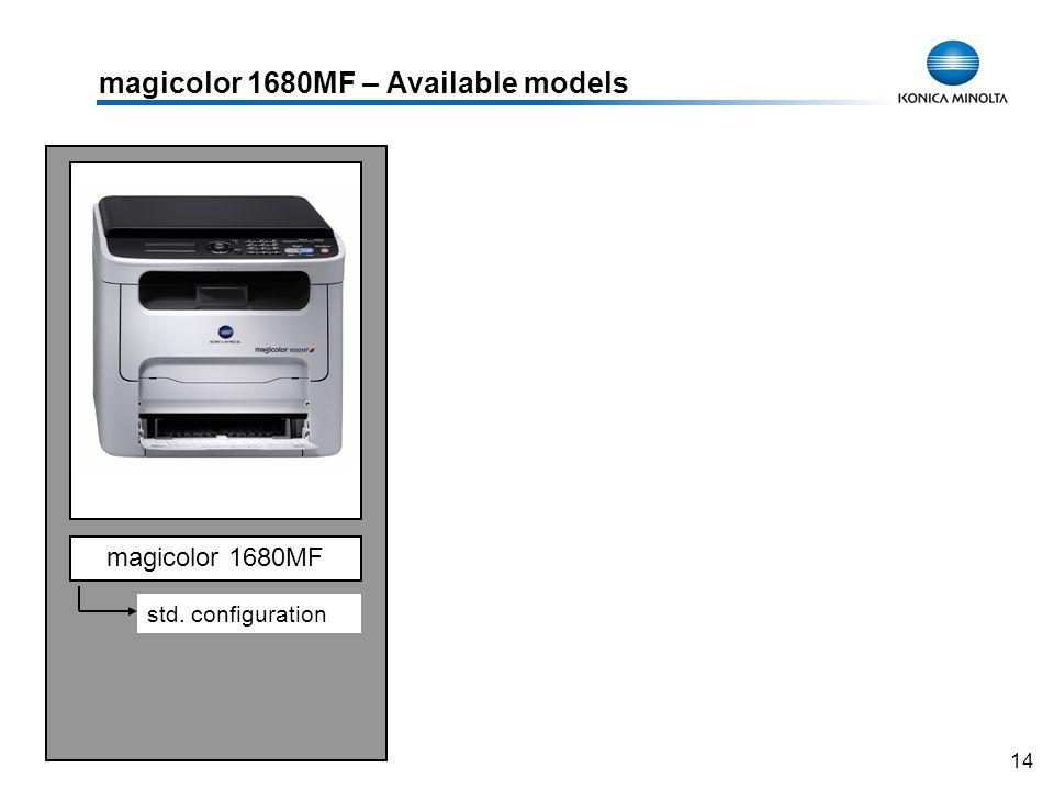 14 magicolor 1680MF – Available models magicolor 1680MF std. configuration