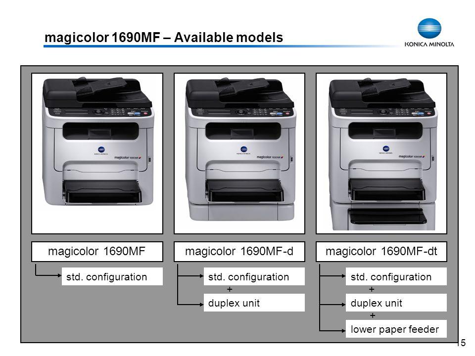 15 magicolor 1690MF – Available models magicolor 1690MFmagicolor 1690MF-dmagicolor 1690MF-dt std. configuration duplex unit lower paper feeder + + std