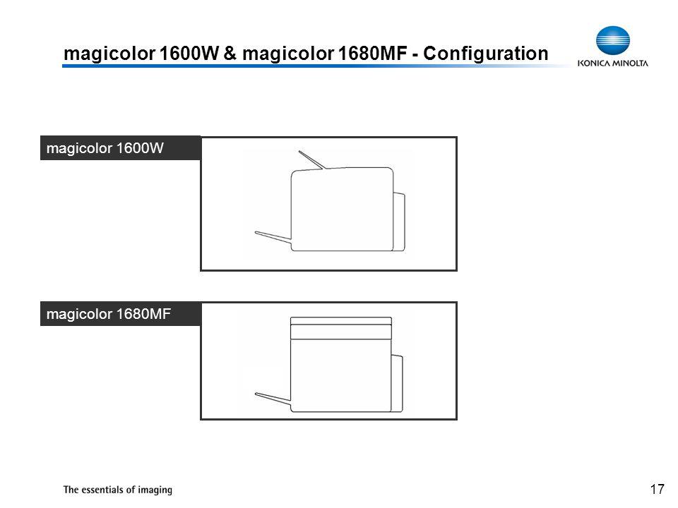 17 magicolor 1600W & magicolor 1680MF - Configuration magicolor 1600W magicolor 1680MF