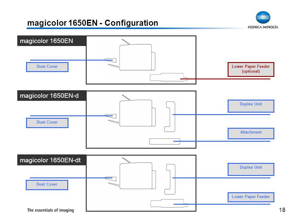 18 magicolor 1650EN - Configuration Duplex Unit Attachment magicolor 1650EN Dust Cover magicolor 1650EN-d magicolor 1650EN-dt Lower Paper Feeder (opti