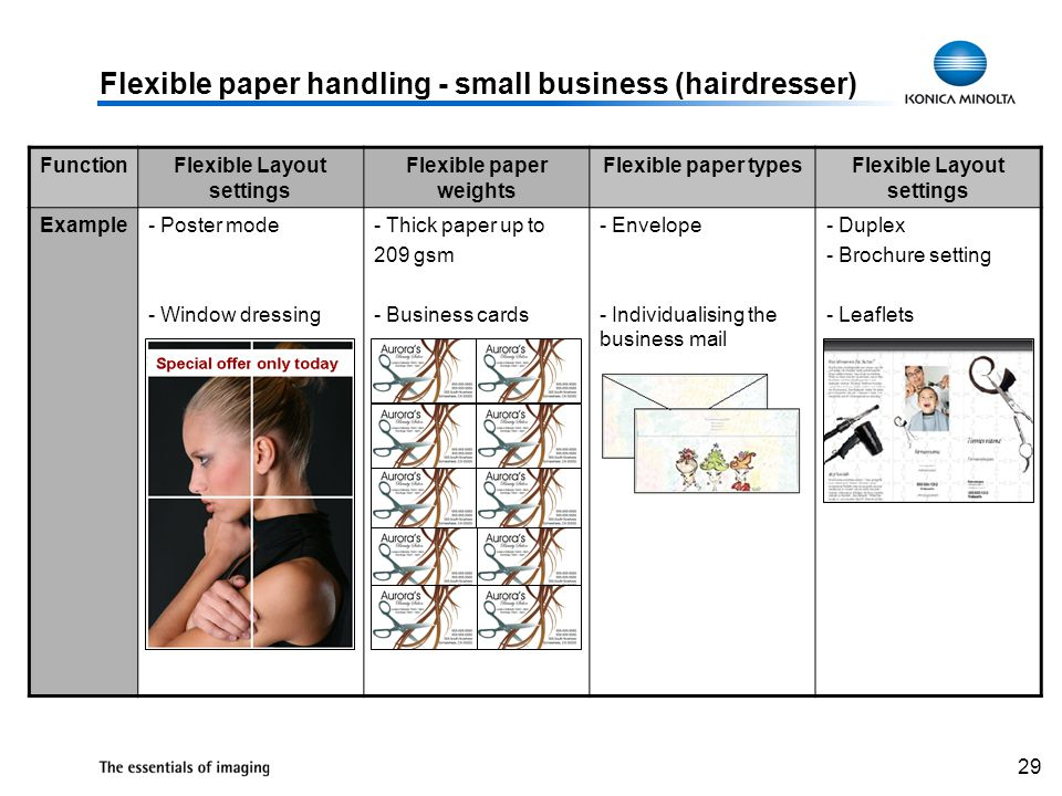 29 Flexible paper handling - small business (hairdresser) FunctionFlexible Layout settings Flexible paper weights Flexible paper typesFlexible Layout settings Example- Poster mode - Window dressing - Thick paper up to 209 gsm - Business cards - Envelope - Individualising the business mail - Duplex - Brochure setting - Leaflets
