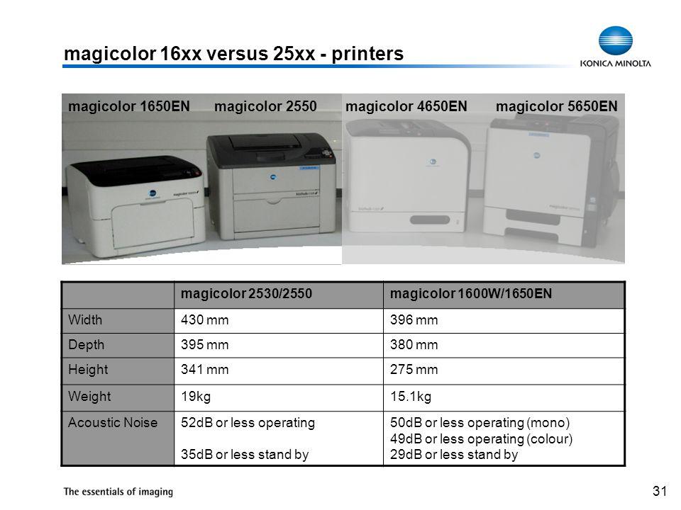31 magicolor 16xx versus 25xx - printers magicolor 1650EN magicolor 2550 magicolor 4650EN magicolor 5650EN magicolor 2530/2550magicolor 1600W/1650EN W
