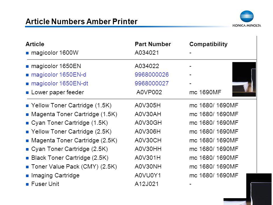 35 Article Numbers Amber Printer ArticlePart NumberCompatibility magicolor 1600WA034021- magicolor 1650ENA034022- magicolor 1650EN-d 9968000026- magic